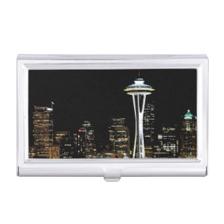 Seattle skyline at night, with Space Needle. Business Card Holder