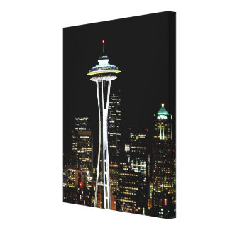 Seattle skyline at night, with Space Needle. Canvas Print
