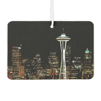 Seattle skyline at night, with Space Needle. Car Air Freshener
