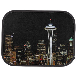 Seattle skyline at night, with Space Needle. Car Mat