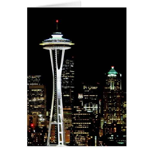 Seattle skyline at night, with Space Needle. Cards