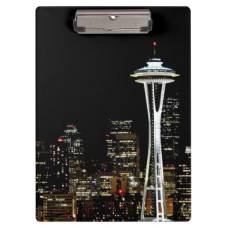 Seattle skyline at night, with Space Needle. Clipboard