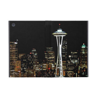 Seattle skyline at night, with Space Needle. Covers For iPad Mini
