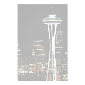 Seattle skyline at night, with Space Needle. Customised Stationery
