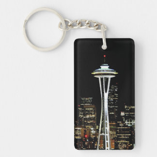 Seattle skyline at night, with Space Needle. Double-Sided Rectangular Acrylic Key Ring