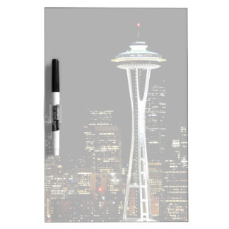 Seattle skyline at night, with Space Needle. Dry Erase Whiteboard