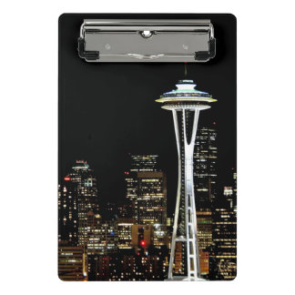 Seattle skyline at night, with Space Needle. Mini Clipboard