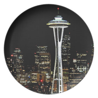 Seattle skyline at night, with Space Needle. Party Plate
