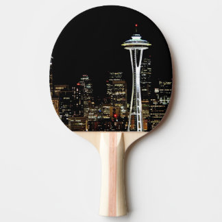 Seattle skyline at night, with Space Needle. Ping Pong Paddle