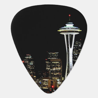 Seattle skyline at night, with Space Needle. Plectrum