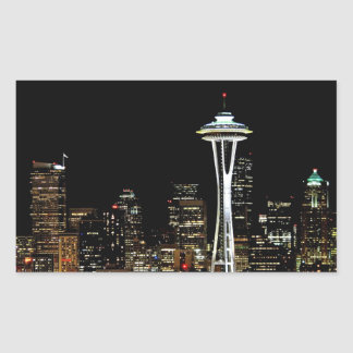 Seattle skyline at night, with Space Needle. Rectangular Sticker