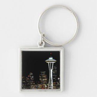 Seattle skyline at night, with Space Needle. Silver-Colored Square Key Ring