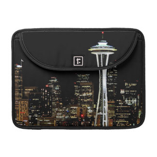 Seattle skyline at night, with Space Needle. Sleeve For MacBooks