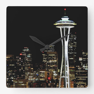 Seattle skyline at night, with Space Needle. Square Wall Clock