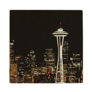 Seattle skyline at night, with Space Needle. Wood Coaster
