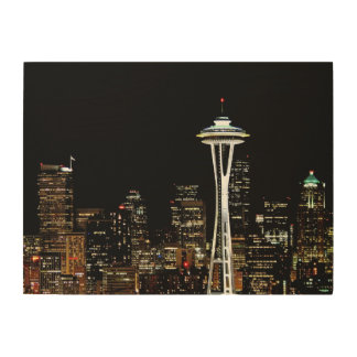 Seattle skyline at night, with Space Needle. Wood Print