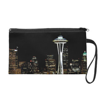 Seattle skyline at night, with Space Needle. Wristlet Clutches