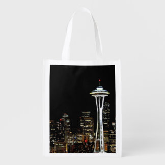 Seattle skyline at night, with Space Needle. Market Totes
