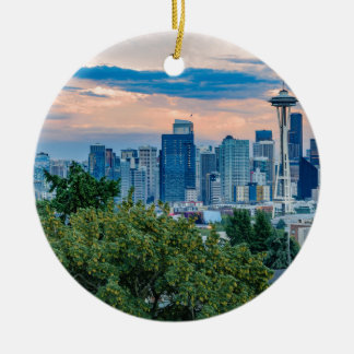 Seattle Skyline at Sunset Round Ceramic Decoration