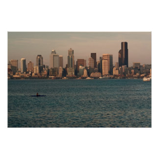 Seattle Skyline at Sunset with Kayaker Print