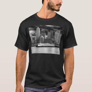 seattle skyline black and white T-Shirt
