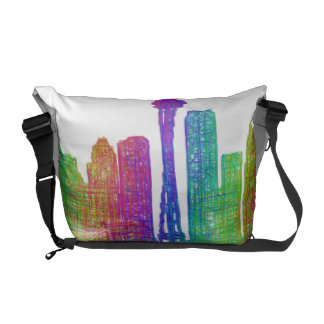 Seattle skyline courier bags