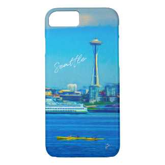 Seattle Skyline Hand Lettered Script Watercolor iPhone 8/7 Case