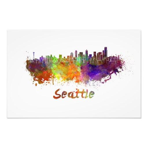 Seattle skyline in watercolor photo