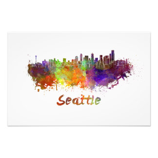 Seattle skyline in watercolor photograph
