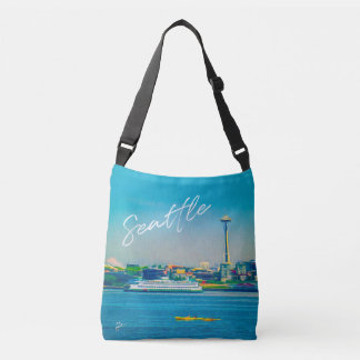 Seattle Skyline Modern Watercolor Unique Crossbody Bag
