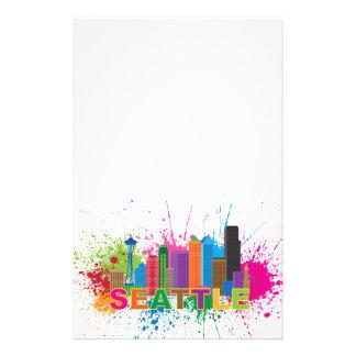 Seattle Skyline Paint Splatter Illustration Stationery Paper