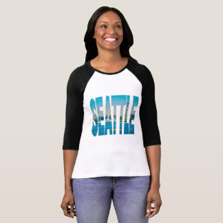Seattle Skyline  Photo Typography ModernWatercolor T-Shirt
