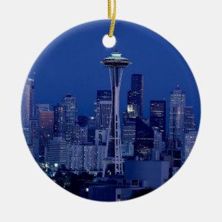 Seattle skyline round ceramic decoration