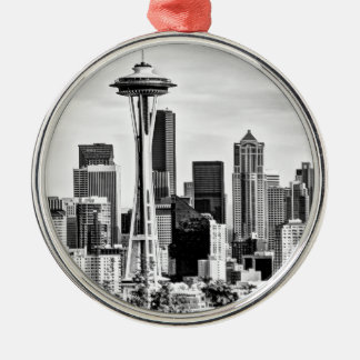 Seattle Skyline Silver-Colored Round Decoration