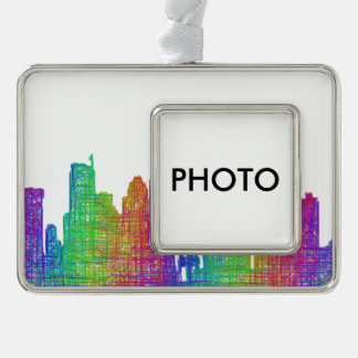 Seattle skyline silver plated framed ornament