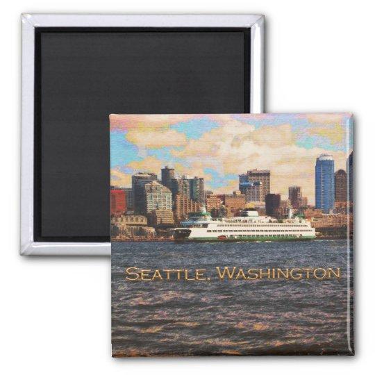 Seattle Skyline Square Magnet