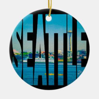 Seattle Skyline Typography Modern Photo Holiday Christmas Ornament