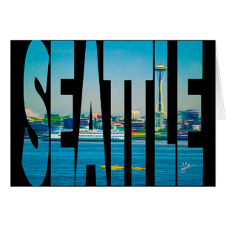 Seattle Skyline Typography Photo Watercolor Blank Card