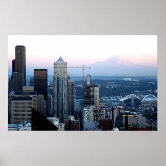 Seattle Skyline with Mt. Rainier Poster
