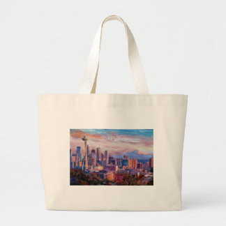 Seattle Skyline With Space Needle And Mt Rainier Tote Bag