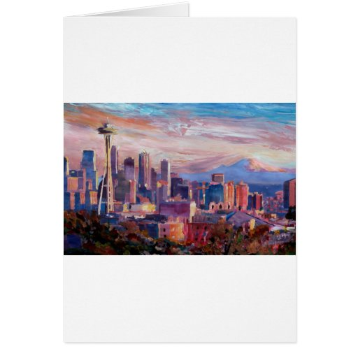 Seattle Skyline With Space Needle And Mt Rainier Card