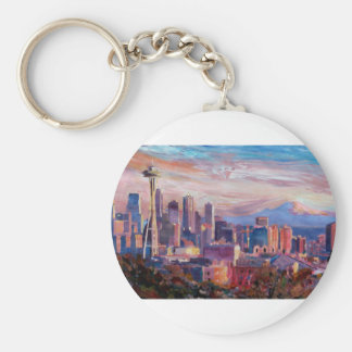 Seattle Skyline With Space Needle And Mt Rainier Keychain