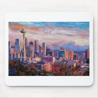 Seattle Skyline With Space Needle And Mt Rainier Mouse Pad
