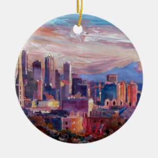 Seattle Skyline With Space Needle And Mt Rainier Round Ceramic Decoration