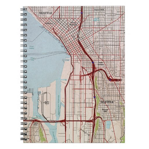 Seattle Topographic City Map Notebook