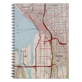 Seattle Topographic City Map Spiral Notebooks