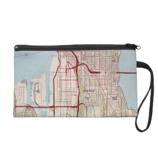 Seattle Topographic City Map Wristlet Clutches