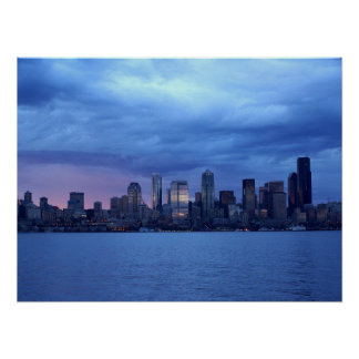 Seattle Under Clouds Poster