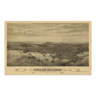Seattle, WA Panoramic Map - 1878 Poster