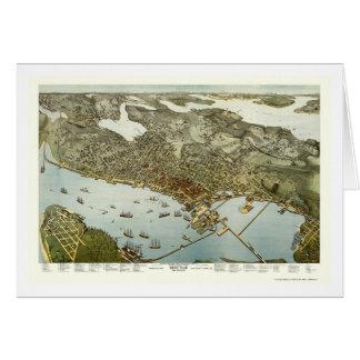 Seattle, WA Panoramic Map - 1891 Card